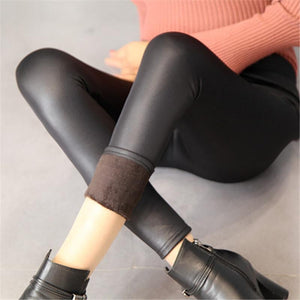 New Faux Leather Black Winter Leggings Sexy Slim legins Thin push uprricdress-rricdress