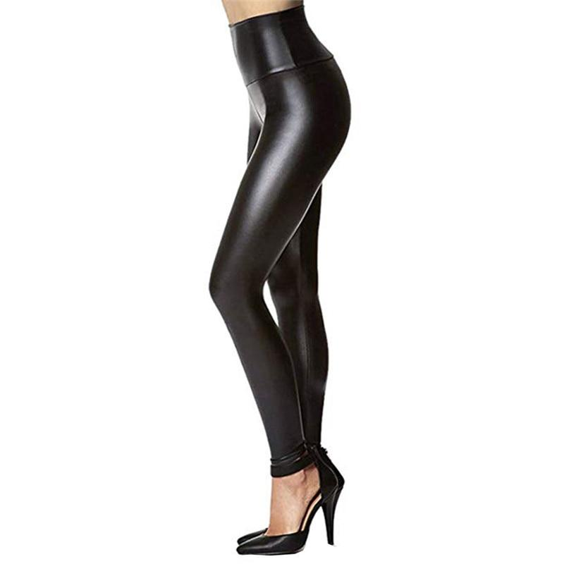 2018 New Hot Womens Sexy Black Pants Slim Soft Strethcy Shiny Wetrricdress-rricdress