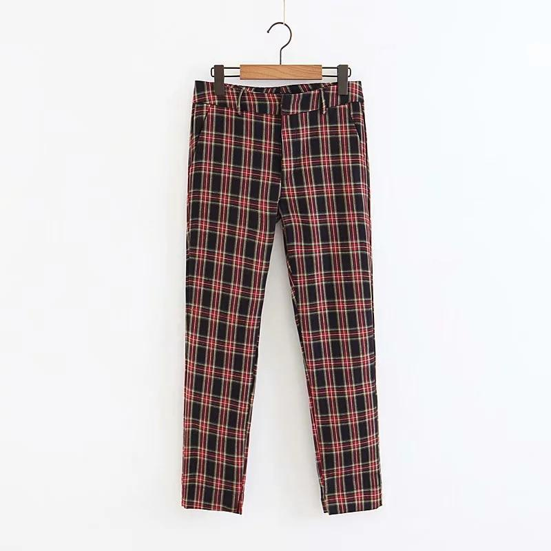 Jenny&Dave pants women harajuku england style plaid zipper fly regular none midrricdress-rricdress
