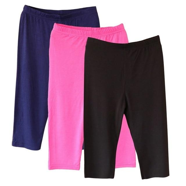 3PCS Women Casual Short Pants Thin Solid Sports Trunks Crop Elasticrricdress-rricdress