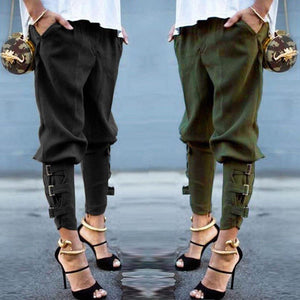 Fashion Women High Waisted Harem Pants Elastic Waist Solid Casual Loose Trousersrricdress-rricdress