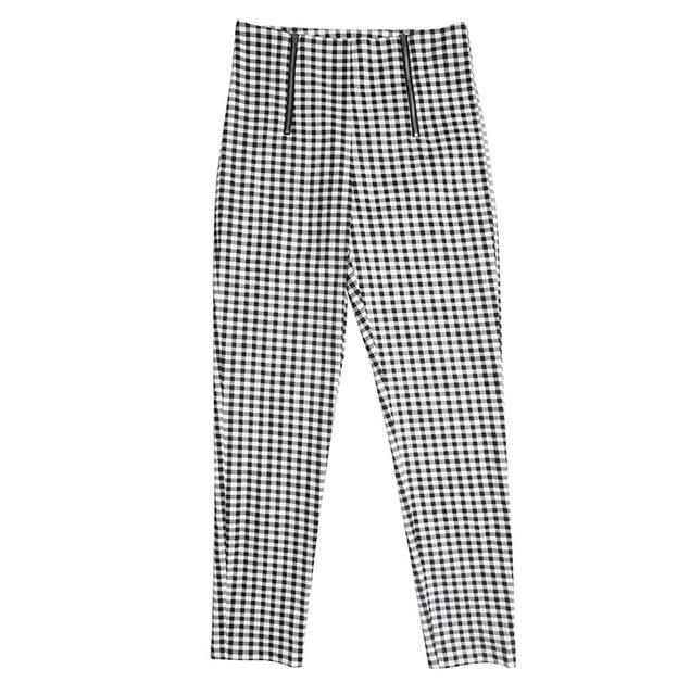 Plaid High Waist Checkerboard Women's Pencil Pants Zippers Bodycon Slim Trousers forrricdress-rricdress