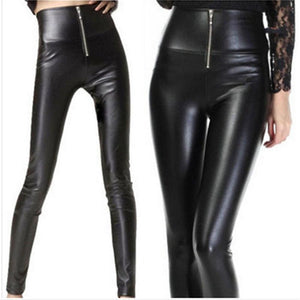 New 2018 Summer Imitation Leather Pants High Waist Stretch Slim Lady Pencilrricdress-rricdress