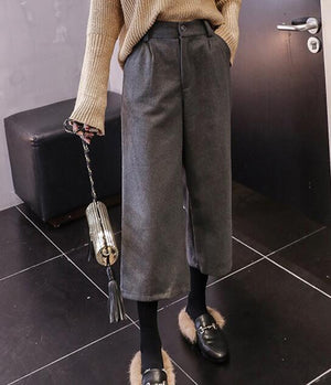 Women plus size woolen pant 2018 autumn winter femme casual solid looserricdress-rricdress