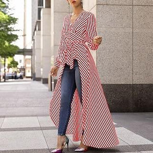 Women 2019 Spring Fashion Casual Long Shirt Workwear Office Formal V-Neck Toprricdress-rricdress