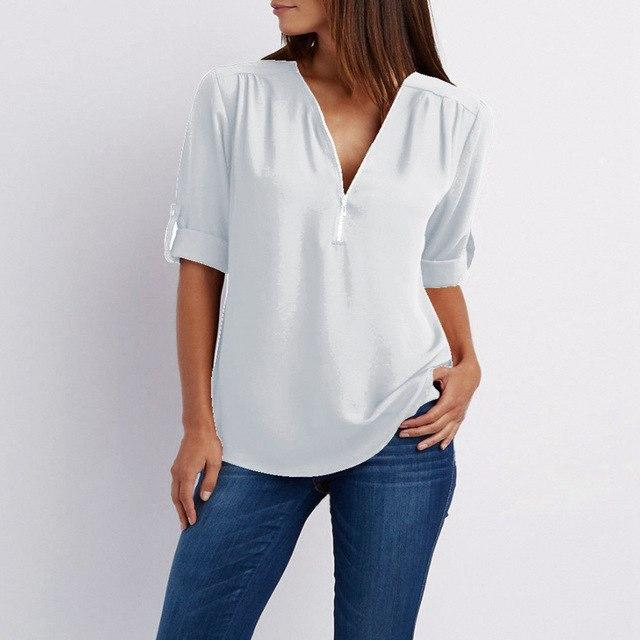 2019 Spring Summer Women Chiffon Blouses Casual Half Sleeve V-Neck Tops Fashionrricdress-rricdress