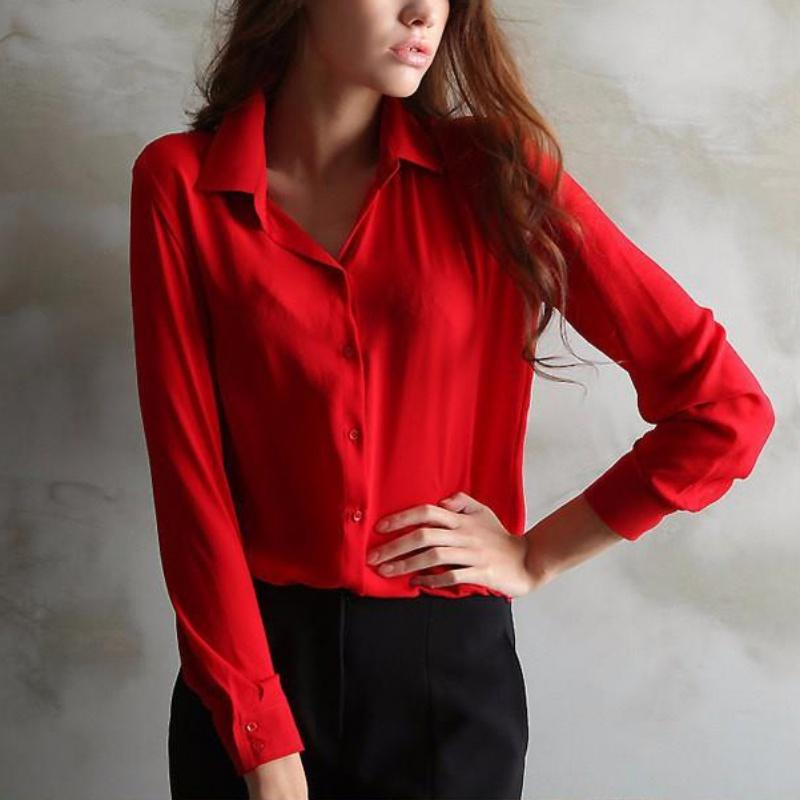 Fashion Women Loose Turn-down Collar Blouse Long Sleeve Chiffon Ladies Blouse Workrricdress-rricdress