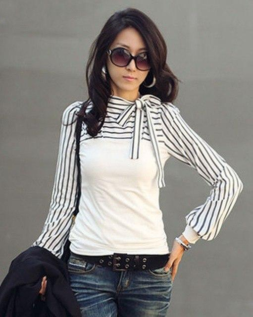 New Elegant Office OL Lady Blouse Women Black White Striped toprricdress-rricdress