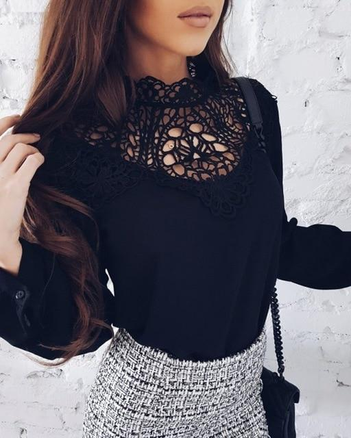 Autumn new tops 2018 new fashion women's chiffon blouse casual O-neck long-sleevedrricdress-rricdress