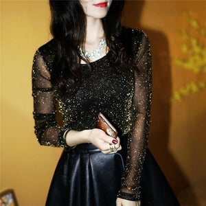 Sexy See Through Mesh Blouse Spring Autumn Fashion Women Long Sleeverricdress-rricdress