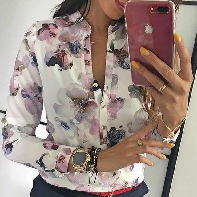 2019 Spring Women Elegant Casual Blouse Floral Print Button Design Long Sleeverricdress-rricdress