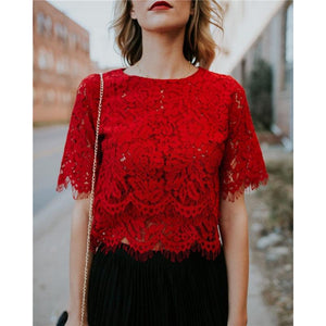 White Lace Blouse Femme Shirt Women Fashion Summer Lace Top Short Sleeverricdress-rricdress