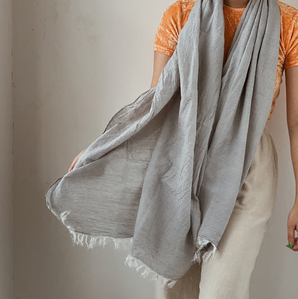 COTTON SILK KHADI STOLE - LIGHT GRAY