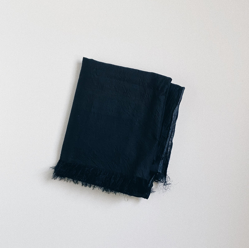 COTTON SILK KHADI STOLE - BLACK
