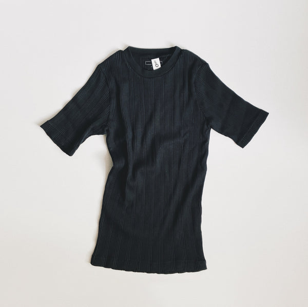 COTTON SILK RANDOM S/S CREW - BLACK