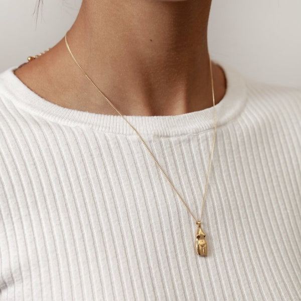 Woman Vase Necklace - Gold