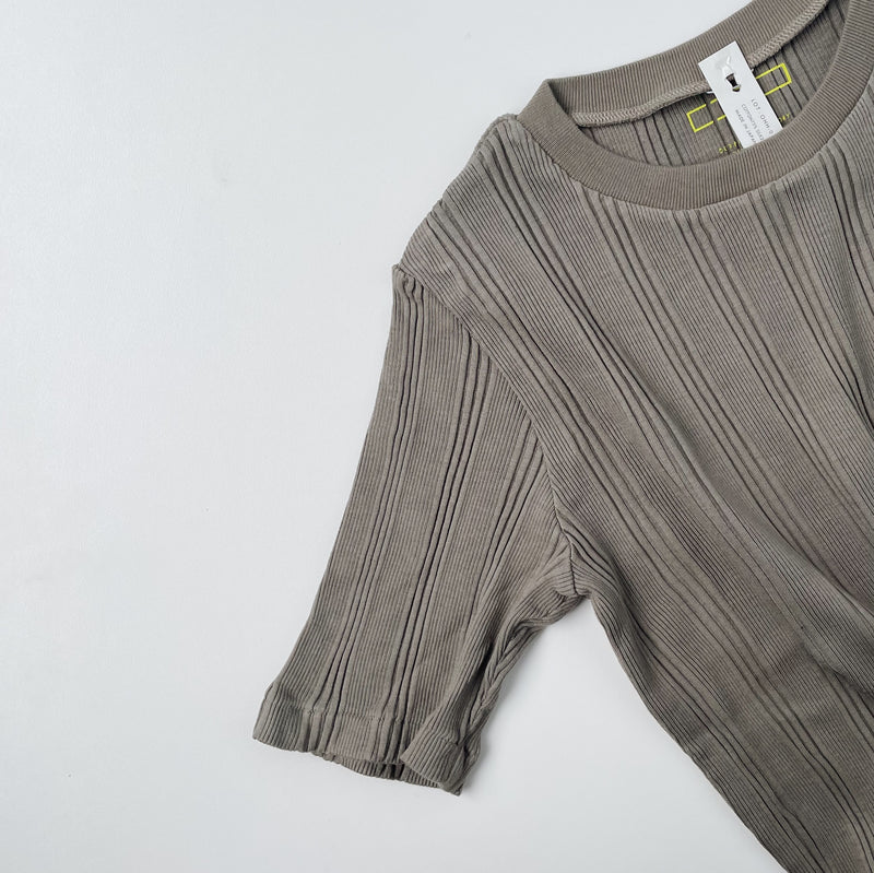 COTTON SILK RANDOM S/S CREW - Taupe