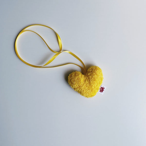 TOWEL HEART - zoo yellow /  S