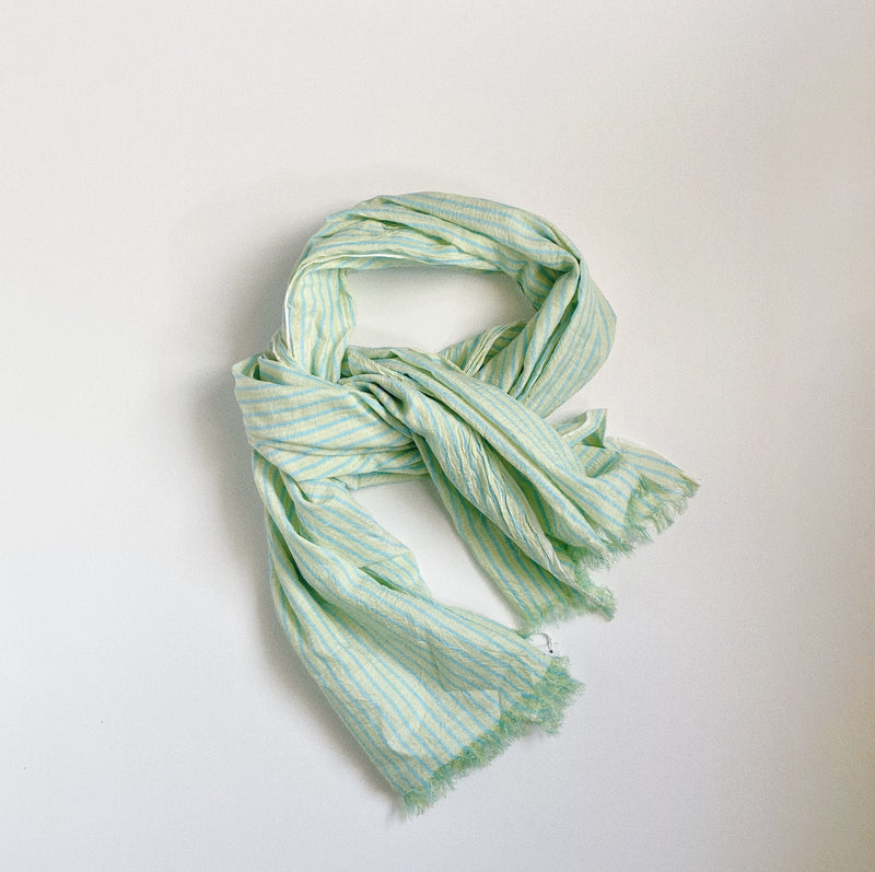 COTTON SILK KHADI STOLE - GREEN STRIPE