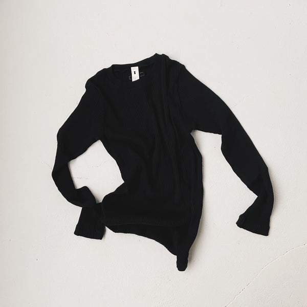 COTTON SILK RANDOM L/S CREW - Black