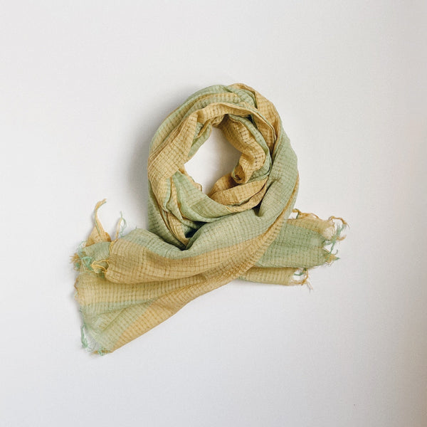 KHADI CHAMBRAY STOLE - YELLOW × GREEN