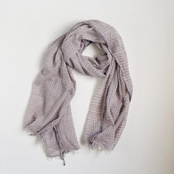 KHADI CHAMBRAY STOLE - WARM GRAY