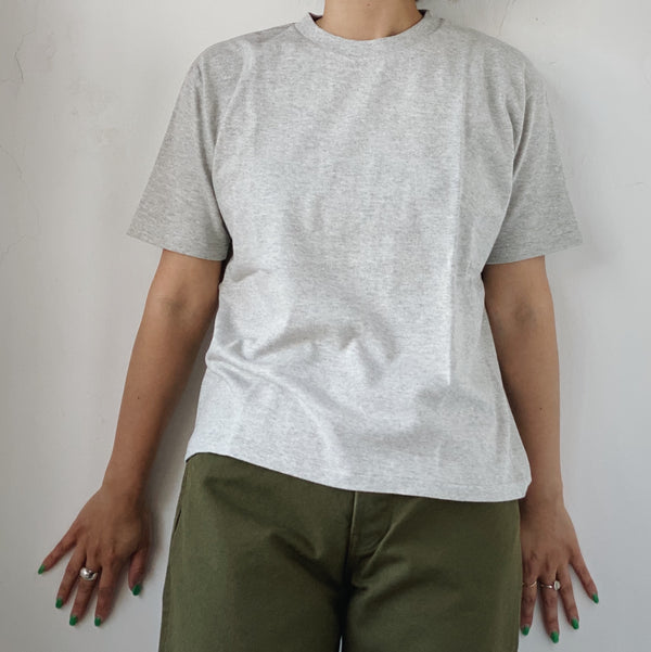BASIC S/S COTTON TEE - MIX GRAY