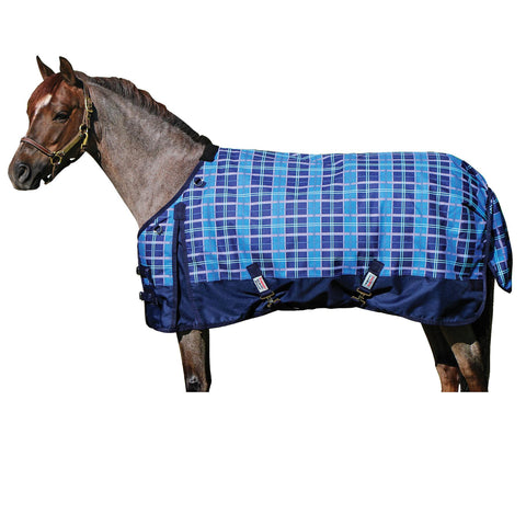 "Stormshield Viking Pony Print Plaid 64"" Blue Turn Out Sheet"