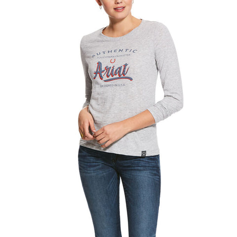 ARIAT WOMEN'S SCRIPT LOGO LONG SLEEVE T-shirt HEATHER GREY XS ***SALE PRICE***