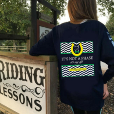 Southern Equestrian Not A Phase Youth Long sleeve Blue tee shirt **Price Reduced**