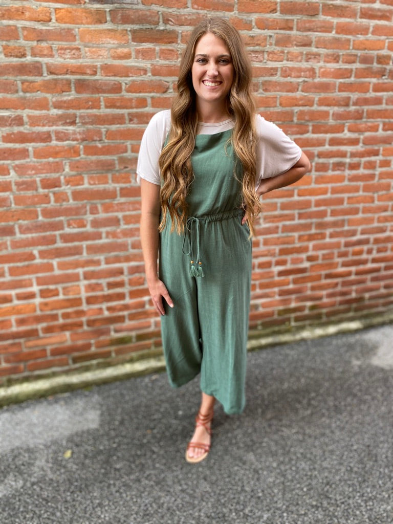 Green Cropped Jumpsuit