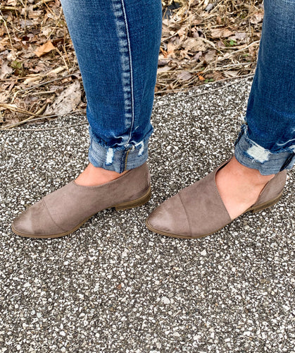 Taupe Suede Flat