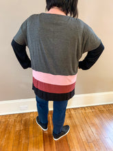 Load image into Gallery viewer, Pink Color Block Curvy Dolman