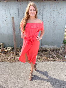Coral Off The Shoulder
