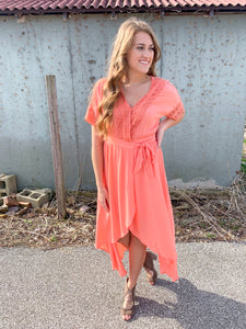 Peach Hi Low Wrap Dress