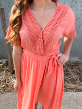 Load image into Gallery viewer, Peach Hi Low Wrap Dress
