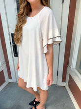 Load image into Gallery viewer, Natural Layered Ruffle Sleeve Dress