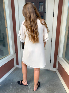 Natural Layered Ruffle Sleeve Dress