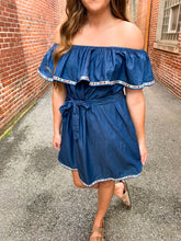 Load image into Gallery viewer, Denim Off the Shoulder Dress