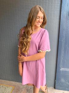 Mauve Pom Pom Dress