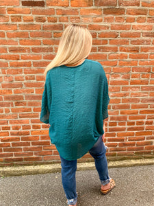 Teal Crossover Blouse