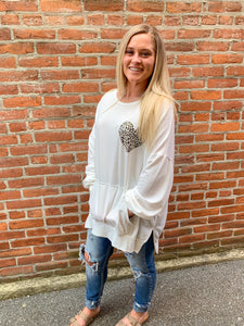 White Cheetah Heart Sweatshirt