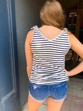 Load image into Gallery viewer, Navy/White Stripe Tank