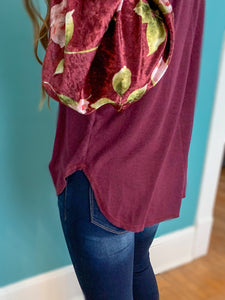 Burgundy Floral Sleeve Top