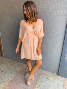 Peach open back dress