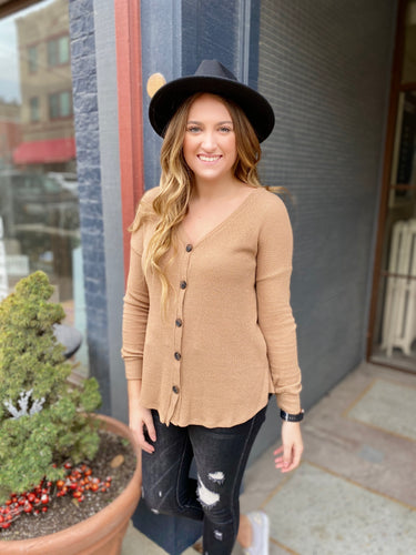 Camel Button Down Knit