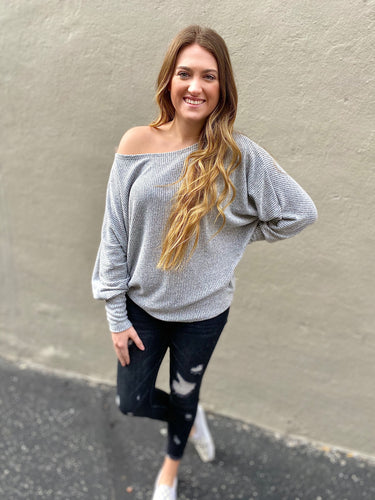 Grey Ribbed Knit