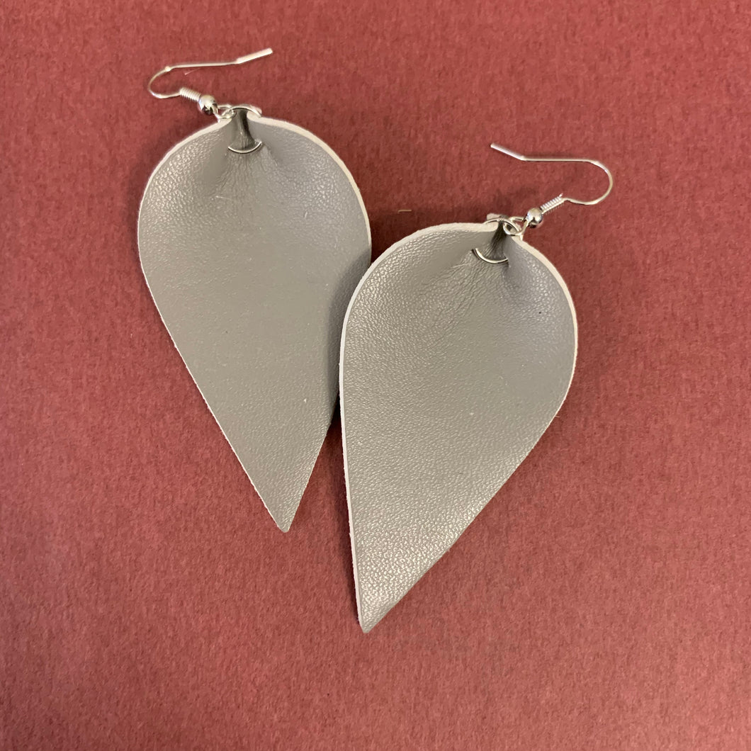 Grey leather earring
