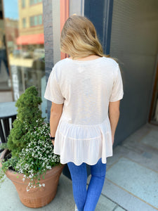 Cream Tiered Ruffle Top