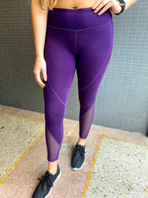 Load image into Gallery viewer, Purple Slanted Mesh Leggings
